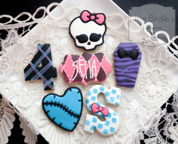 Monster High Cookie Favors  2 Dozen by LittleBirdiesCookies