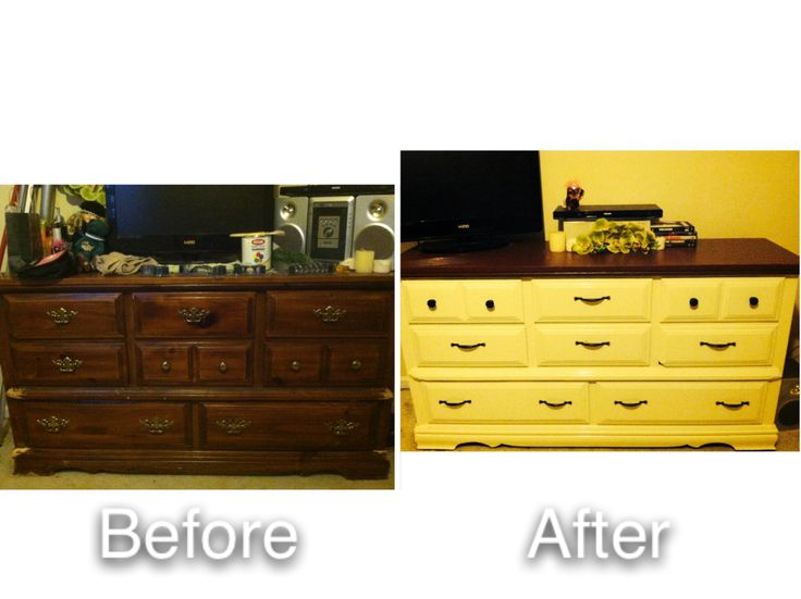Diy dresser facelift - nice little weekend project. Did this in 10 hours. Quart of paint for the bottom (I used ivory), valspar sample from lowes for the top (rich chocolate), new hardware, sandpaper, and copious amounts of coffee. Ivory part took 5 coats of paint, had to plug the old hardware holes and drill new ones for the new stuff. Kind of a pain in the @$$, but the modern hardware brings new life to this old dresser that I'm pretty sure was made in 1970 or before.