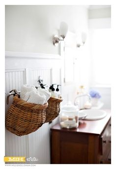 Bike baskets on rods for cute storage