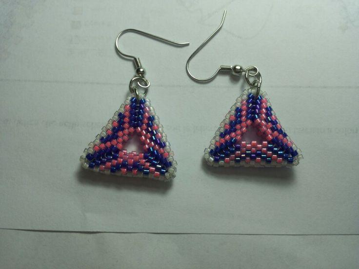 Orecchini triangolo a tre colori