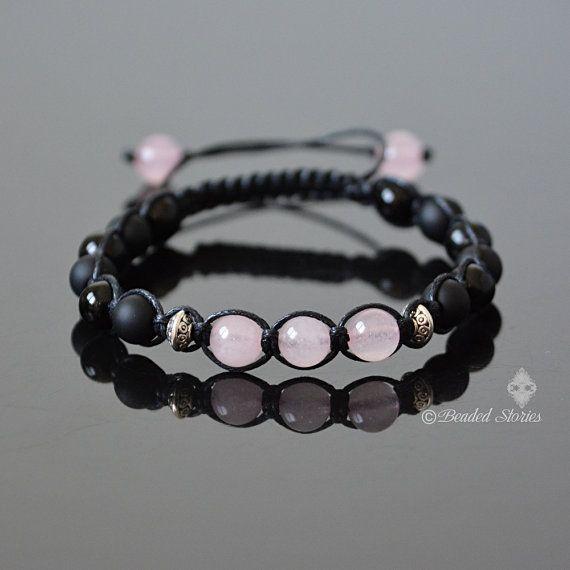 Rose Quartz Bracelet  Womens Bracelet  Shamballa by BeadedStories