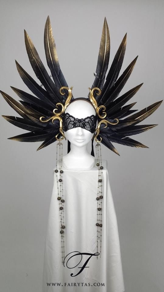 "Amazing headpiece from Fairytas ""The Empress"" Double winged headdress with baroque swirls."