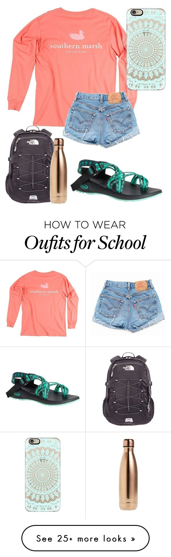"""School outfit"" by jadenriley21 on Polyvore featuring Chaco, The North Face, Levi's, S'well and Casetify"