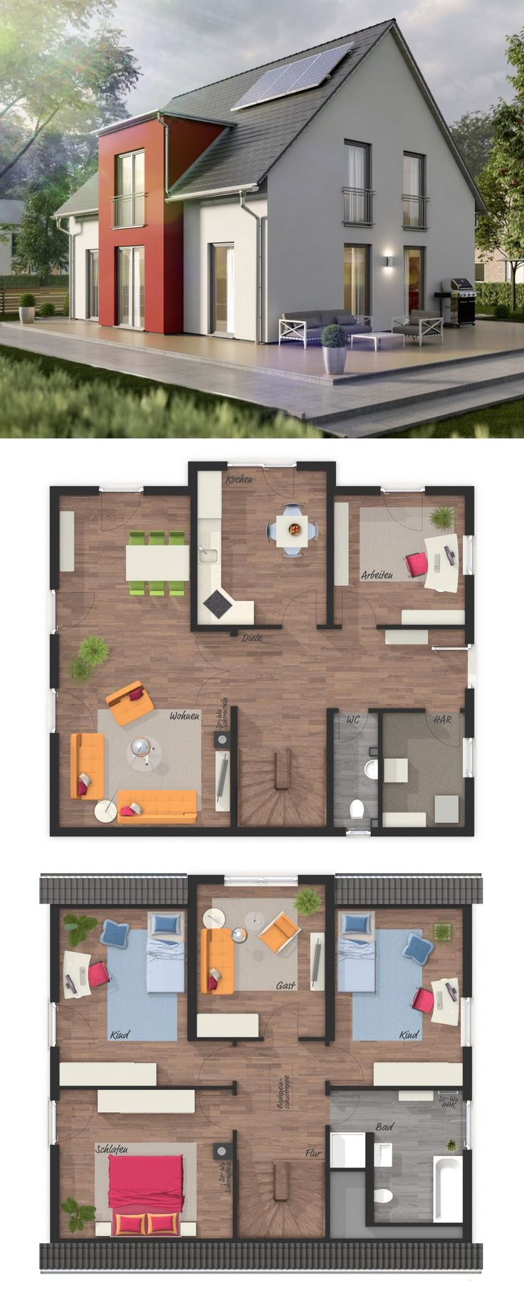 Einfamilienhaus Architektur modern mit Satteldach, Zwerchgiebel & 6 Zimmer Grund…  – HausbauDirekt