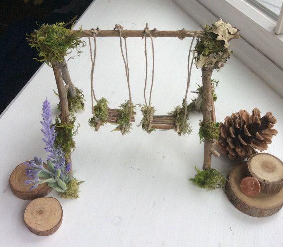 Garten Fee Swing Handarbeit Olive * ~ Terrarium Zubehör, Fee schwingen, Miniatur-Garten, Forsythien Feen Swing, Feen, Feen – Ina Glessen