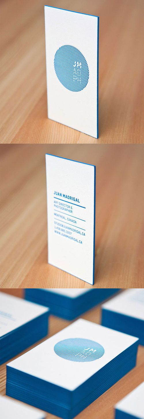 厚みのある紙を使用した名刺。 Bold Blue Letterpress card, purpose was to display 2 sides with the least number of elements.