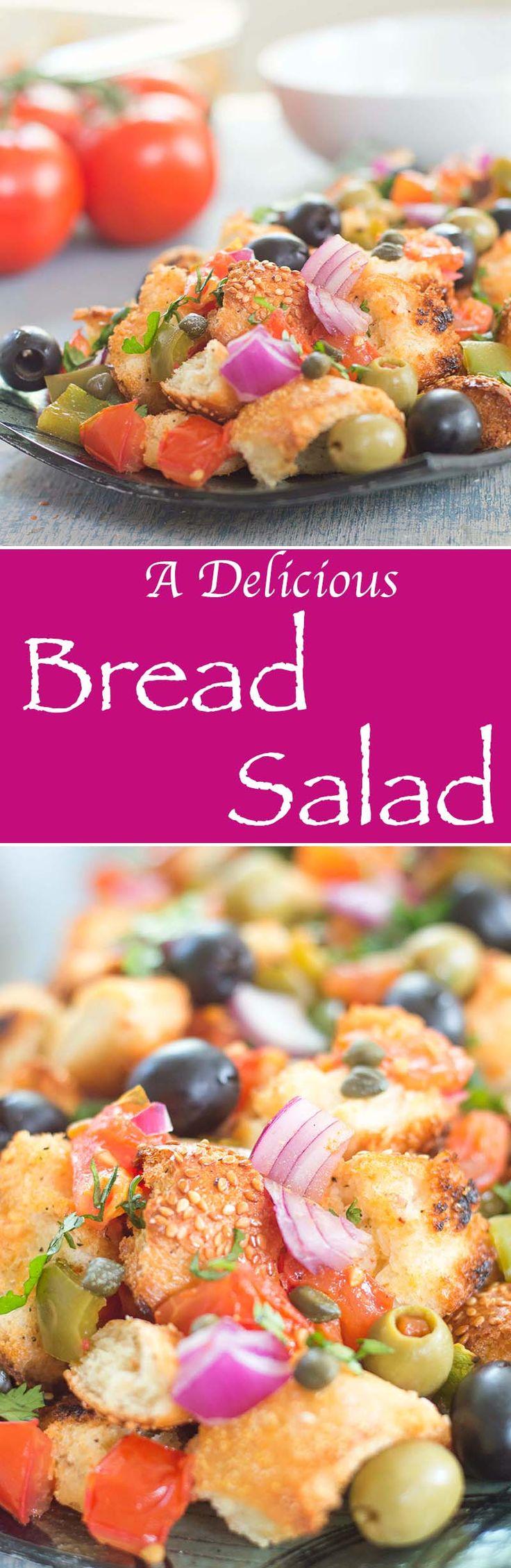 Simple Bread Salad Made Greek Style