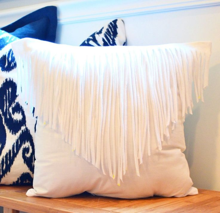 Throw Pillows Uses : Use an Old T-Shirt to Make a Stylish Fringe Throw Pillow Throw pillows, Fringes and Pillows