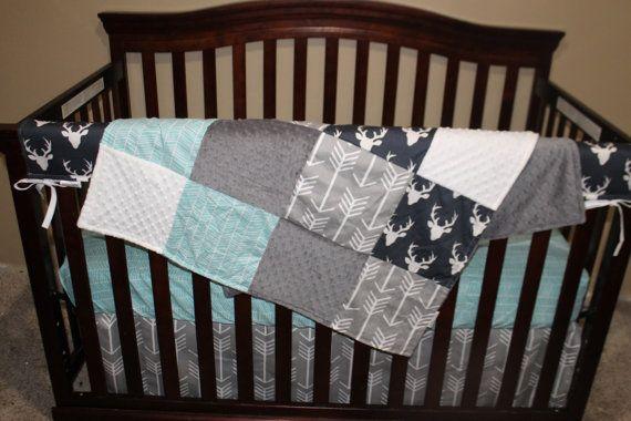 Baby Boy Crib Bedding - Navy Buck, Gray Arrow, and Herringbone Crib Baby Bedding…