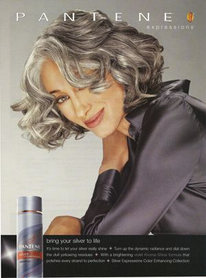 Susan Hersch pantene ad- such a pretty pewter with sterling threads. love her hair cut and silver/platinum hair.