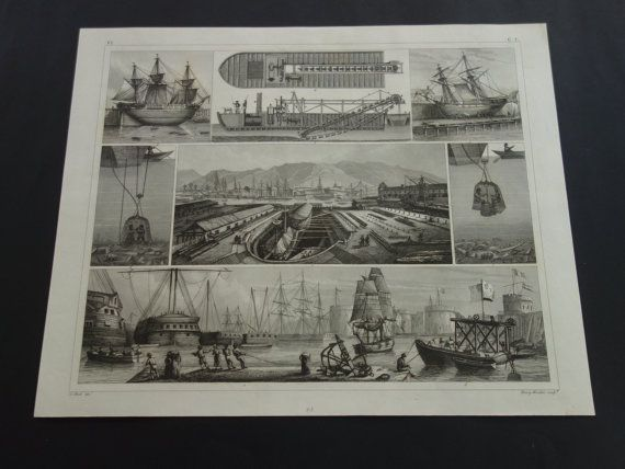 1849 SHIPS old naval print antique maritime by DecorativePrints