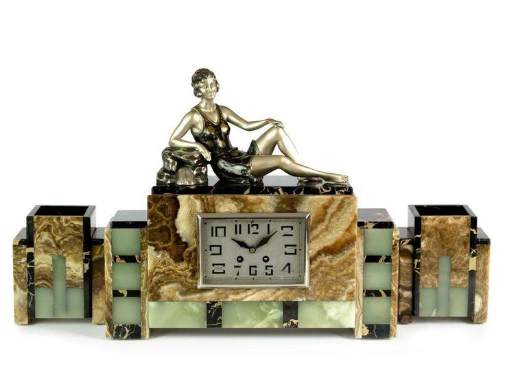 1930 FRENCH ART DECO MANTEL CLOCK SET WITH STATUE - SCULPTURE SIGNED BALLESTE #ArtDeco #EnriqueMolinsBalleste
