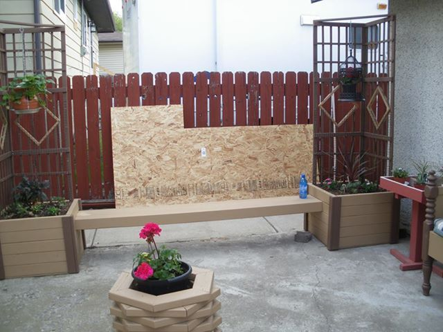 planter and bench with trellis (I have made three of these, one with covers on the planters for storage)