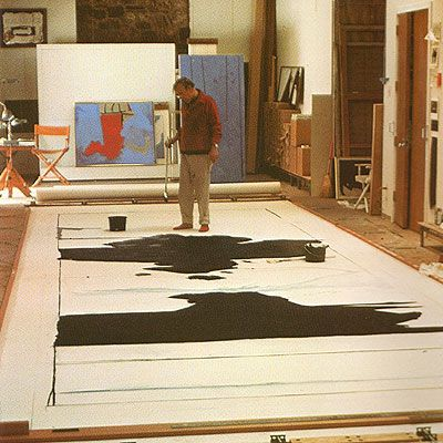 Robert Motherwell in studio painting Reconciliation Elegy