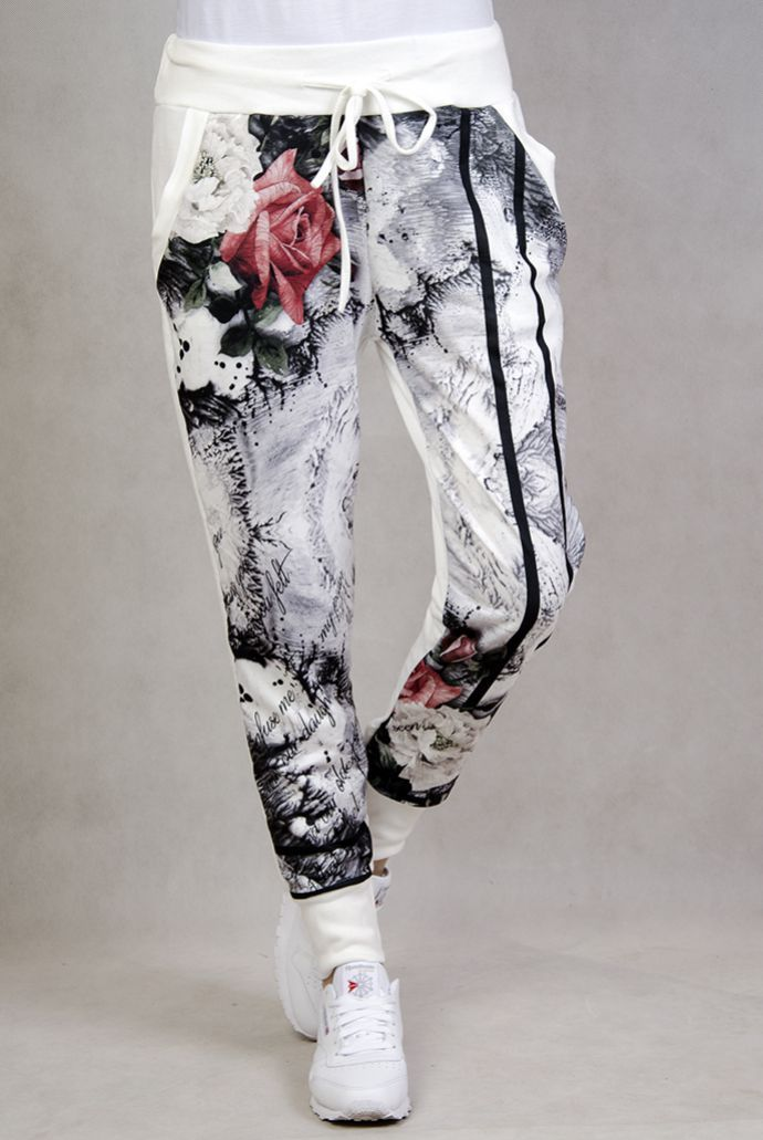 Dresowe spodnie z motywem kwiatowym