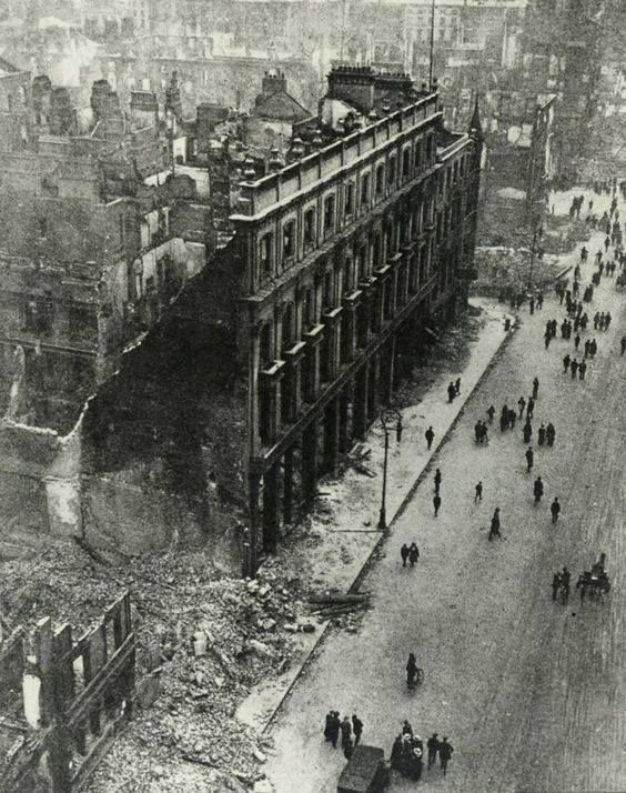 The commercial district of Dublin after British Army shelling 1916
