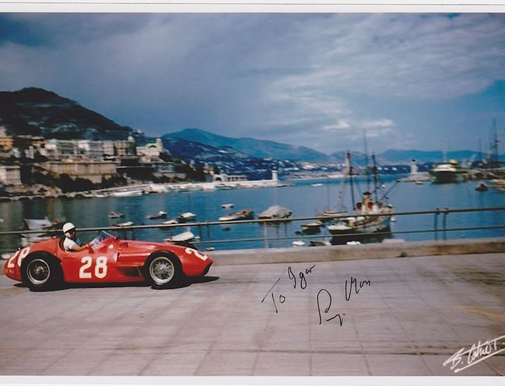 Stirling Moss on a Maserati in Monaco 1956