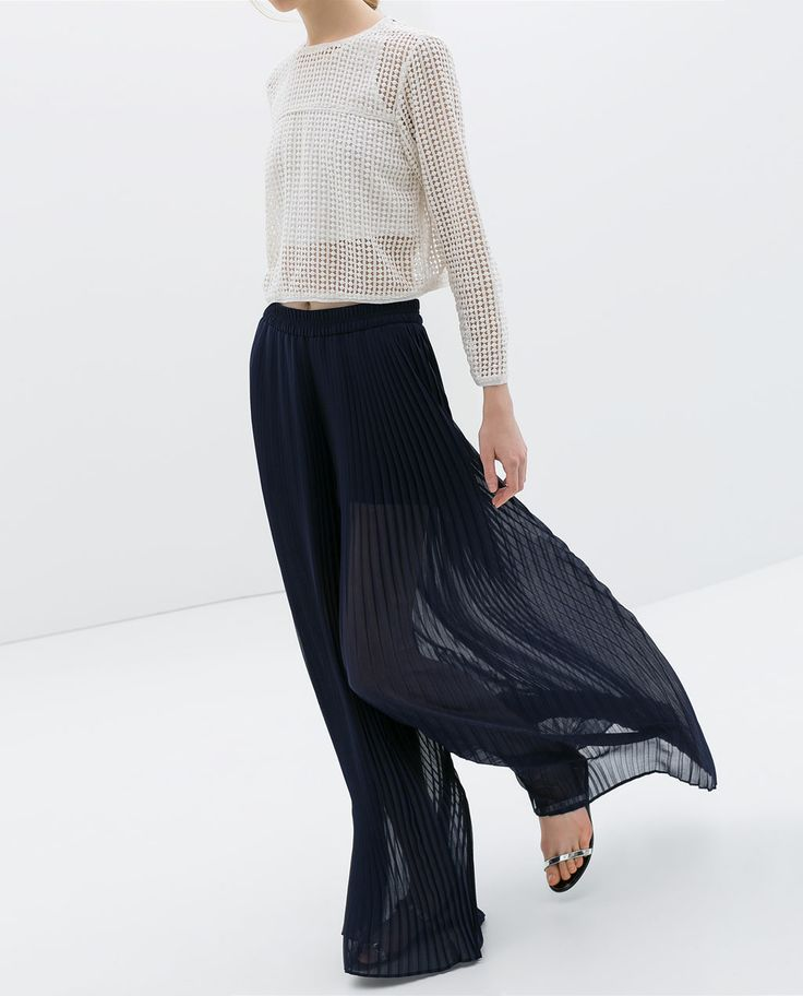 Image 2 of PLEATED BELL BOTTOM TROUSERS from Zara