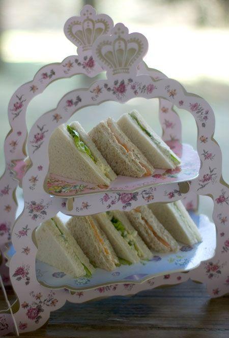 pretty display for tea sandwiches