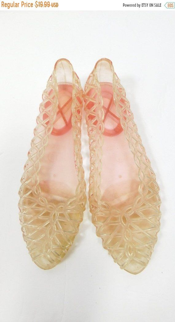 e9e90c136f Vintage 1990s 90s Pink Classic Clear Plastic Strappy Minimal Slip On ...