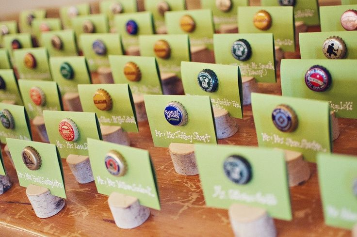 wedding place card ideas | beer bottle caps for place cards | Wedding Ideas!