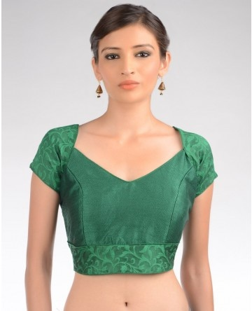 Leaf Green Blouse with Floral Design