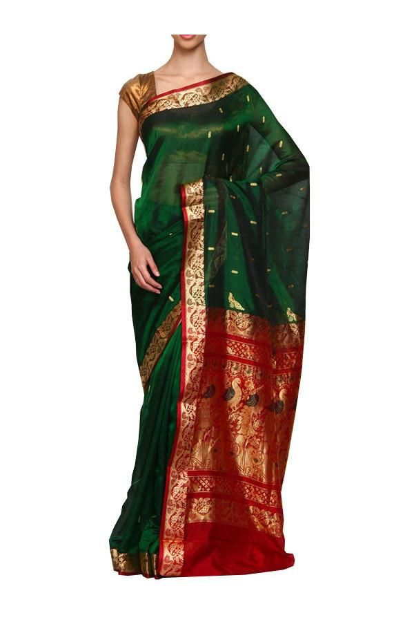 This is a beautiful Green Peshwai Paithani silk saree from the heart of Yeola. It is also called as Daagina silk because it has intricate thread work on the border and pallu of the saree. Best part of wearing this saree is, it is very light weight and easy to carry and at the same time, looks very elegant. Apt for flaunting in wedding functions. And we ship free to USA!