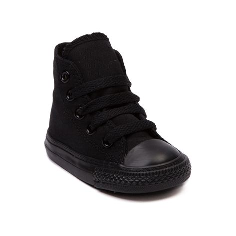 Shop for Toddler Converse All Star Hi Sneaker in Black Monochrome at Journeys Kidz. Shop today for the hottest brands in mens shoes and womens shoes at JourneysKidz.com.Classic Converse Hi Top for the little courtsters. You can never be too old or too young for the originals. Canvas upper.