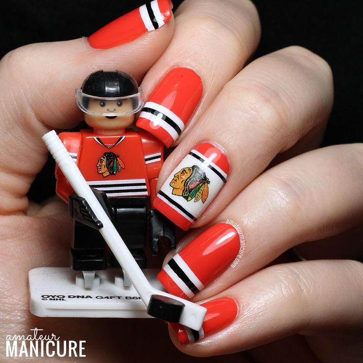 2015 Chicago Blackhawks Nail Art via @amateurmanicure