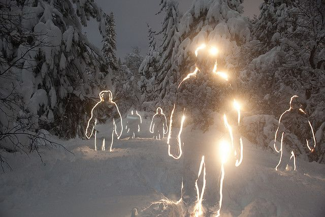 March 11, 2011 | by  Tristan Rayner |  Lightpainting photography isn't always this awesome. These snowman were done using a five minute exposure on a pitchblack night with a full moon. Each snowman was created using a flashlight to trace around the edges of a person.  via Lost at E Minor