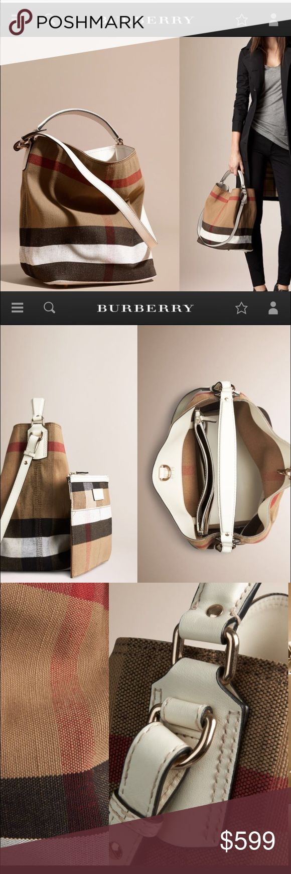 Burberry Limited Edition Medium Ashby in Canvas Check and Leather <WHITE> Burberry Bags Shoulder Bags