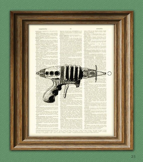 "Retro ray gun upcycled dictionary page print  8.5x11""  $6.99 for will..."