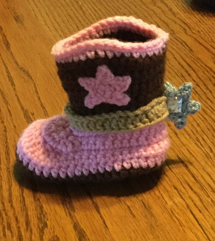 Crochet Cowboy or Cowgirl Boot Pattern and Written Slideshow For Size 9-...