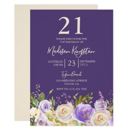 Champagne White Rose Purple 21st Birthday Party Card - birthday cards invitations party diy personalize customize celebration