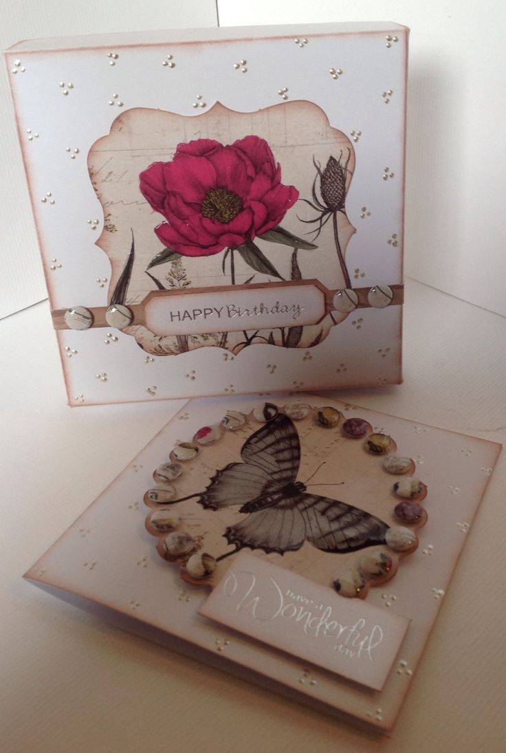 Box and card decorated by Julie Hickey using Bontanica Collection.