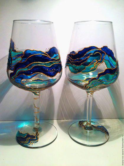 """Бокалы, стаканы ручной работы. Ярмарка Мастеров - ручная работа. Купить Набор бокалов для вина """"Эгейское море"""". Handmade. Синий"""