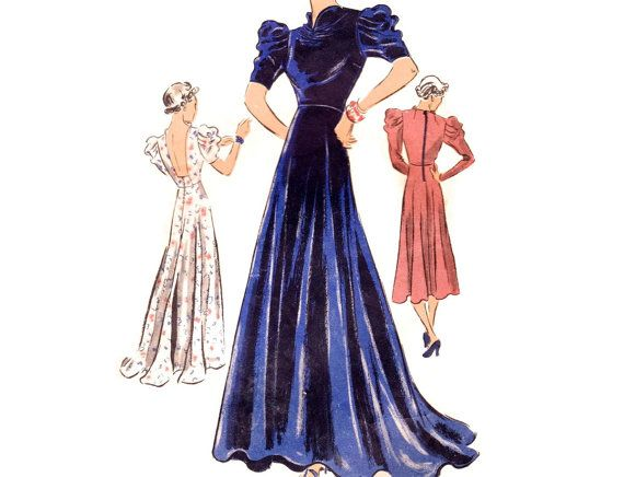 1930s evening gown pattern vogue 7432 backless dress with train