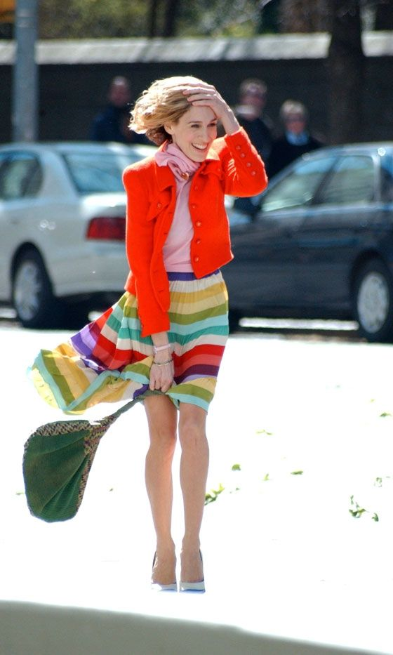 One of my fave Carrie Bradshaw outfits: pink and red with multi colored skirt