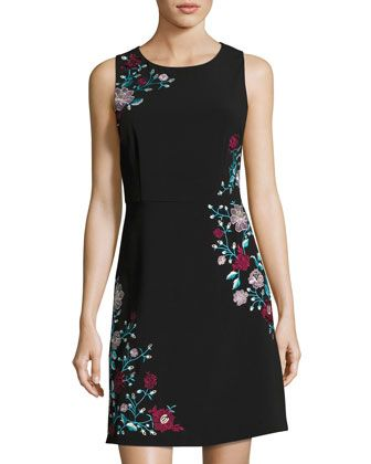 Embroidered A-Line Dress, Black Pattern by Laundry By Shelli Segal at Neiman Marcus Last Call.
