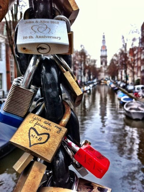 What's that rattlin' in the wind? Some rusted locks with messages.  Make a wish. Save that thought, Coming straight from the heart. Write it down and latch it on To a fence with a lock.  Lock in the love. Throw away the key. Keep it true for eternity.  Something so romantic about a love lock. Can't wait to do it :-)
