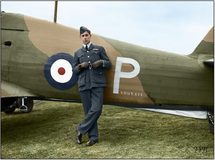 """New Zealand Flying Officer Edgar James 'Cobber' Kain of No. 73 Squadron RAF, standing by his Hawker Hurricane Mark I """"Paddy III"""" (P/L1766) at Rouvres, shortly after becoming the first Allied air 'ace' of the Second World War. November 1939  Kain scored his fourth and fifth victories on 26 March 1940, before being wounded and forced to bail out. The 21-year-old pilot was killed in a flying accident while doing acrobatics over Échemines airfield on 7 June 1940."""