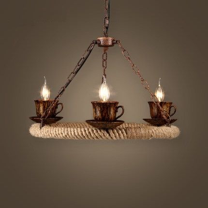 399.00$  Buy here - http://ali8iv.worldwells.pw/go.php?t=32782381787 - Loft Style Iron Rope Industrial Lamp Teacup Vintage Pendant Light Fixtures Dining Room LED Hanging Droplight Indoor Lighting