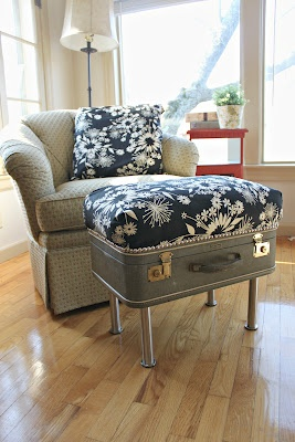 Repurposed: Antique Suitcase into Ottoman with Storage. I'm really obsessed with repurposing old suitcases right now!