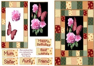 A nice easy to make card for your mum, aunty, sister,or your friend.  To say happy birthday, or best wishes.
