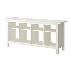 Hemnes Console - Ikea for behind couch with baskets for toys