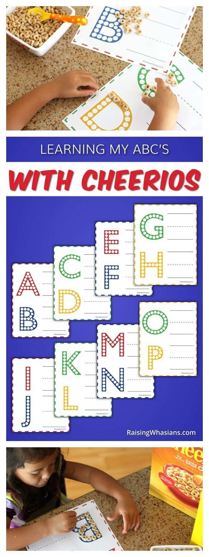 FREE Printable ABC Worksheets for Preschoolers with Cheerios - Raising Whasians via @raisingwhasians #ad