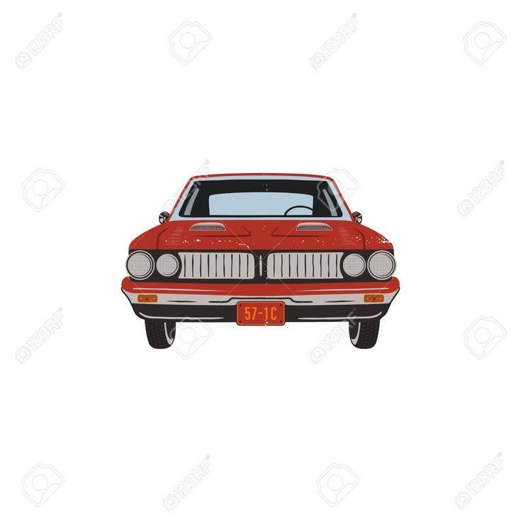 Dibujado a mano vintage muscle car. Diseño de símbolo de coche rojo retro. Emb…