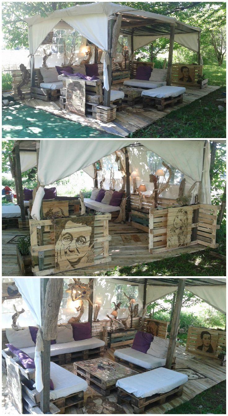 #Garden, #Lounge, #PalletTerrace, #RecycledPallet