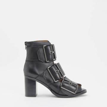 Jeffrey Campbell CONSTANZA Triple Buckle Strap Bootie Black Leather