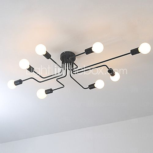Wrought iron 8 heads Multiple rod ceiling dome lamp creative personality retro nostalgia cafe bar ceiling light - GBP £132.99